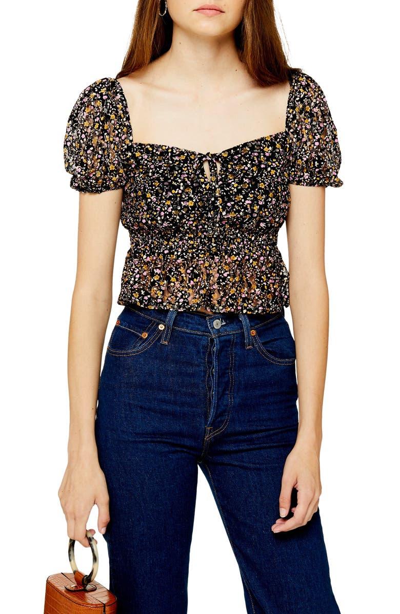TOPSHOP Ditsy Floral Lace Crop Top, Main, color, BLACK MULTI
