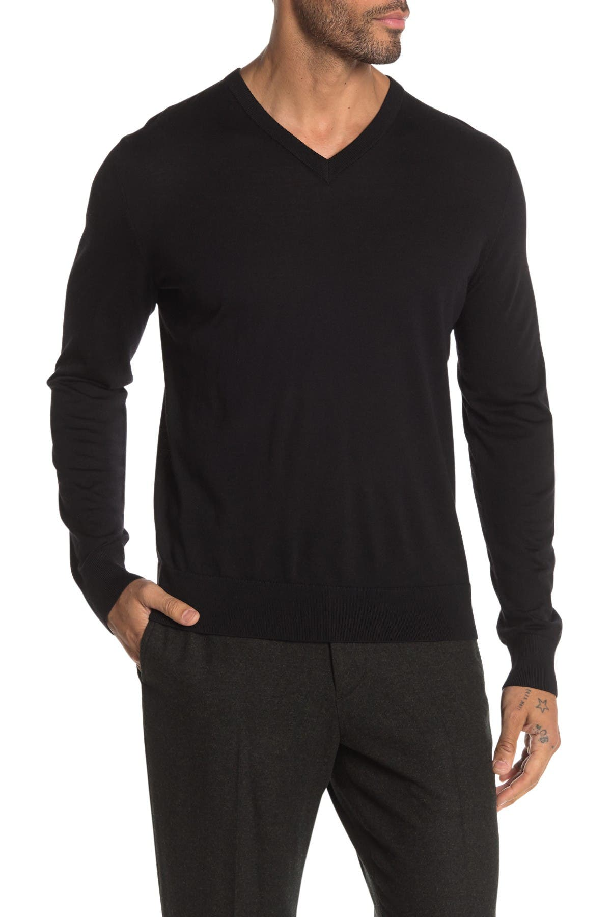 Image of Theory Riland Leden Luxe V-Neck Sweater