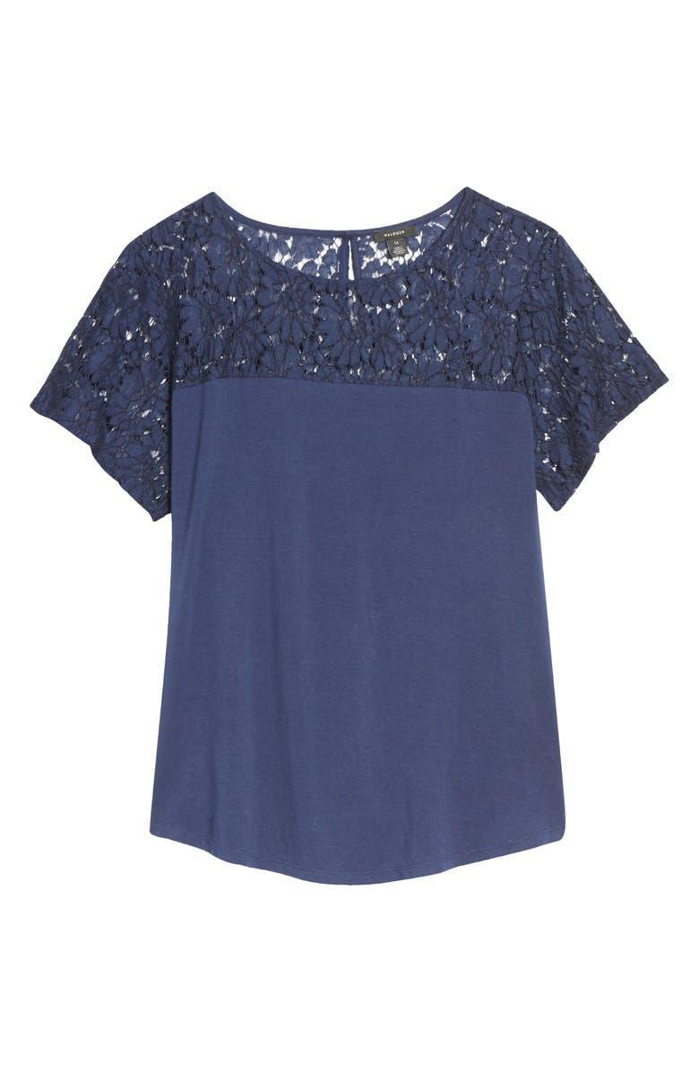 HALOGEN<SUP>®</SUP> Floral Lace Yoke Top, Main, color, 401