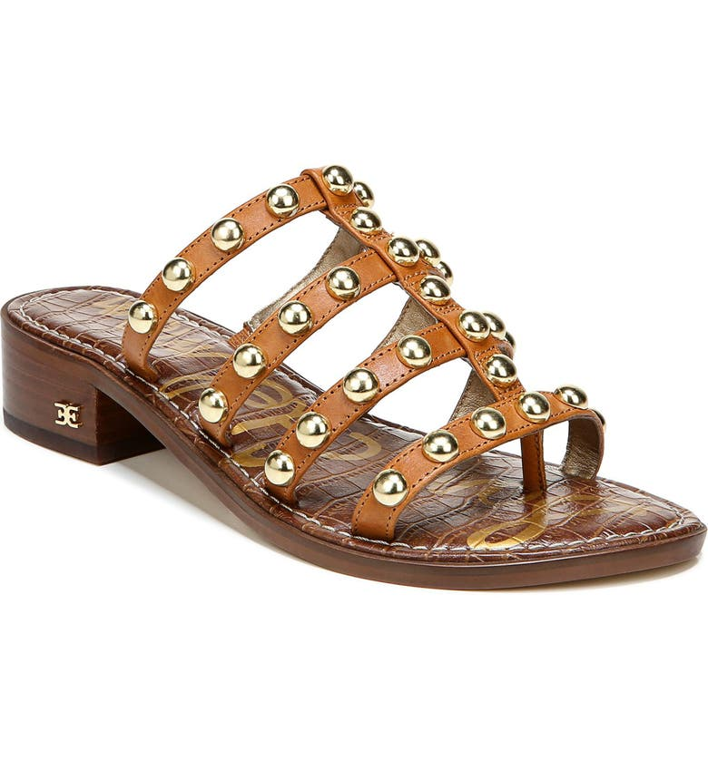 SAM EDELMAN Juniper Studded Gladiator Slide Sandal, Main, color, SPICED CLAY LEATHER
