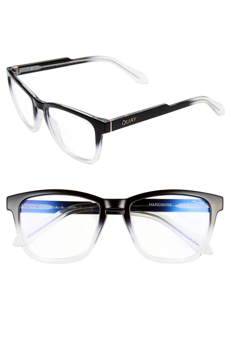 QUAY AUSTRALIA Hardwire 50mm Blue Light Blocking Optical Glasses, Main, color, BLACK CLEAR/ CLEAR BLUE LIGHT