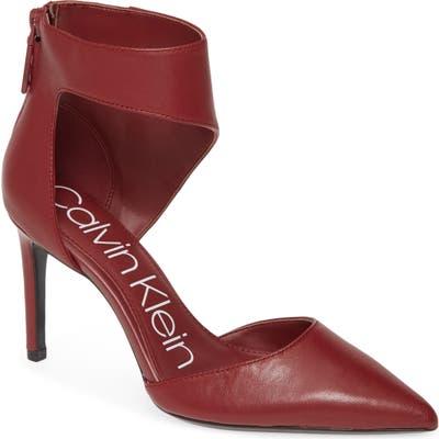 Calvin Klein Rajon Ankle Wrap Pump- Burgundy