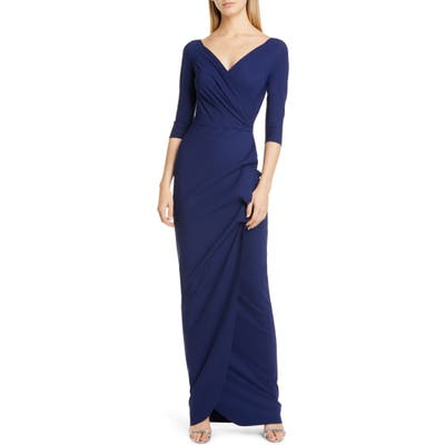 Chiara Boni La Petite Robe Florien Ruched Evening Dress, US / 52 IT - Blue
