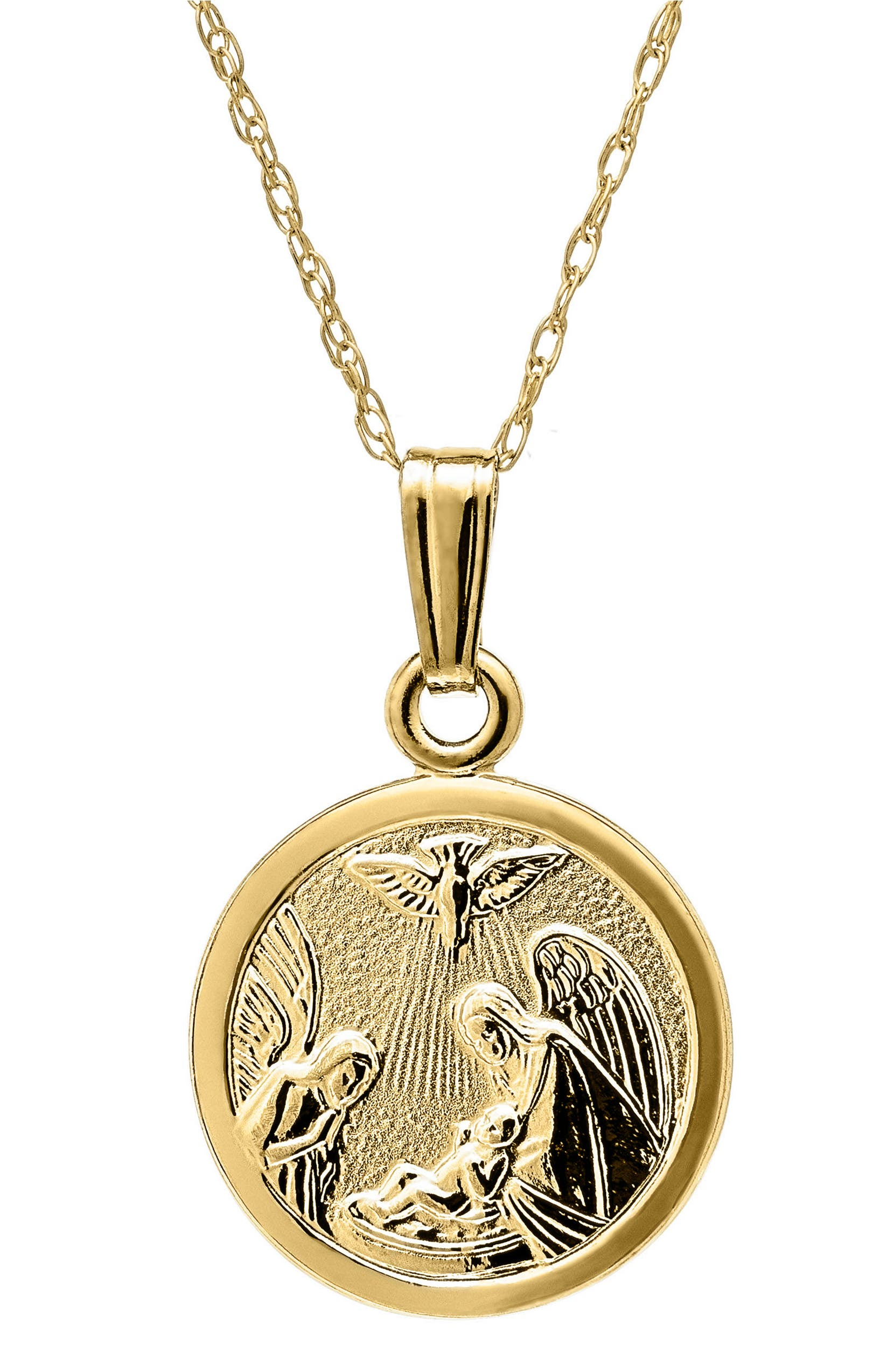b93ceaae2c2e9 14k Gold Guardian Angel Pendant Necklace