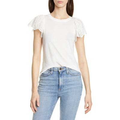 Rebecca Taylor Eyelet Sleeve Top, White