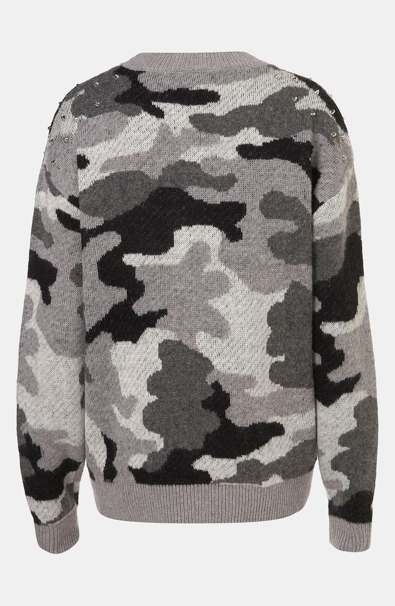 TOPSHOP Studded Camouflage Sweater, Main, color, 020