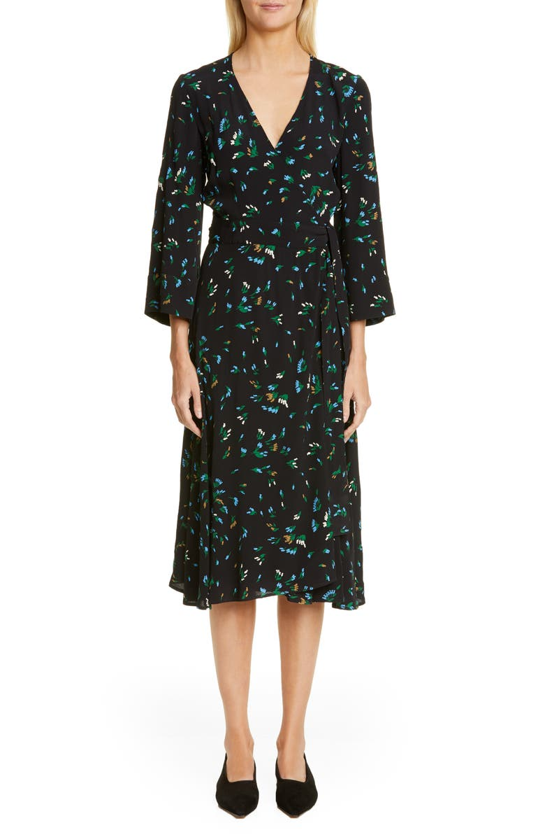 GANNI Floral Print Crepe Midi Wrap Dress, Main, color, VERDANT GREEN