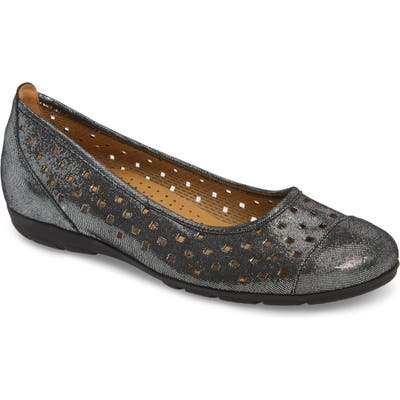 Gabor Perforated Ballet Flat, Black