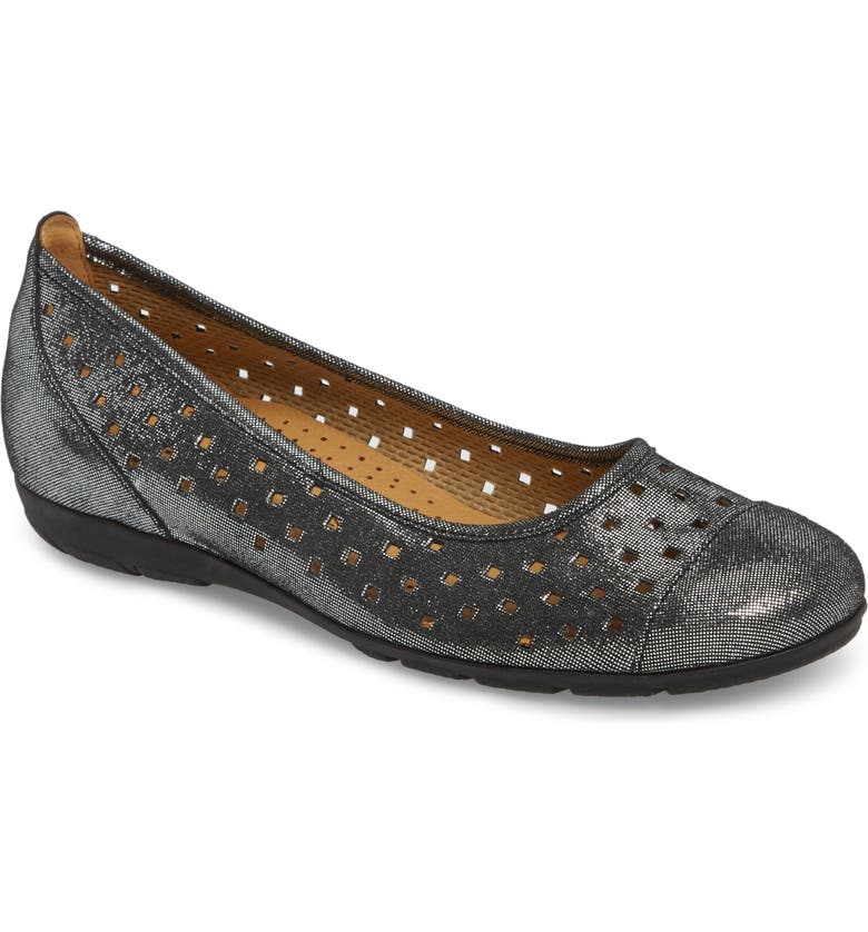 GABOR Perforated Ballet Flat, Main, color, BLACK METALLIC LEATHER