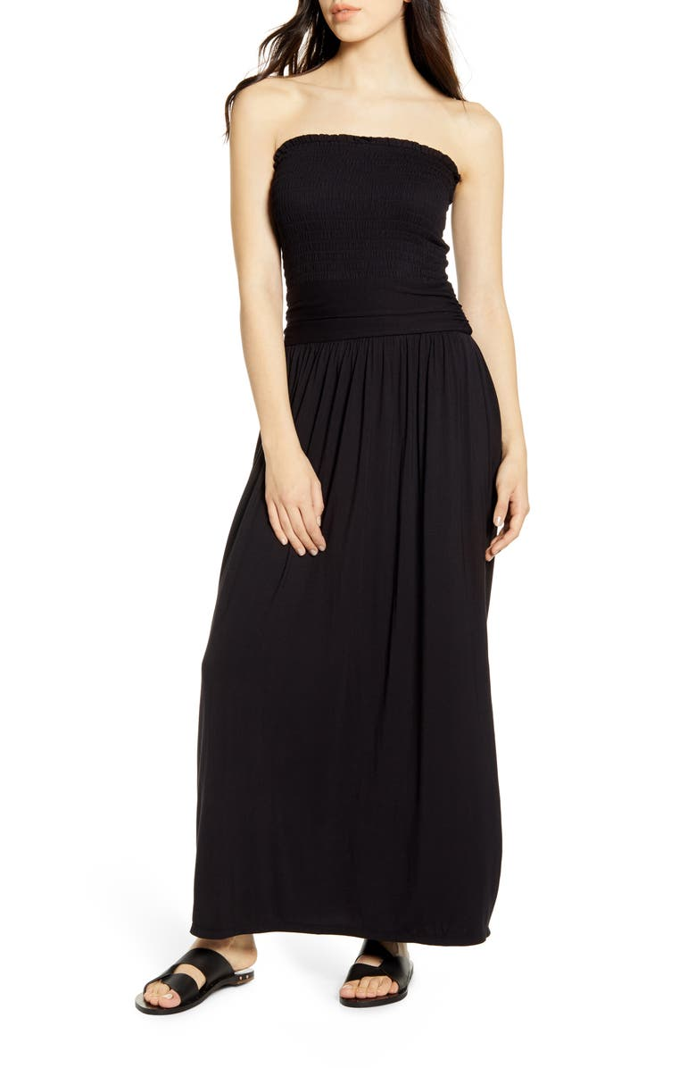BP. Strapless Smocked Maxi Dress, Main, color, BLACK