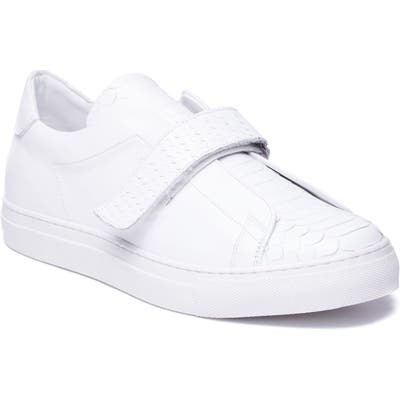 Jared Lang Sergio Laceless Strapped Sneaker, White
