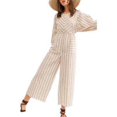 Free People Kenny Stripe Cotton Jumpsuit, Ivory