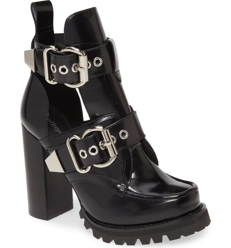 JEFFREY CAMPBELL Craven Buckle Strap Bootie, Main, color, BLACK BOX SILVER
