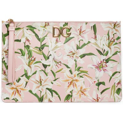 Dolce & gabbana Lily Print Leather Pouch - Pink