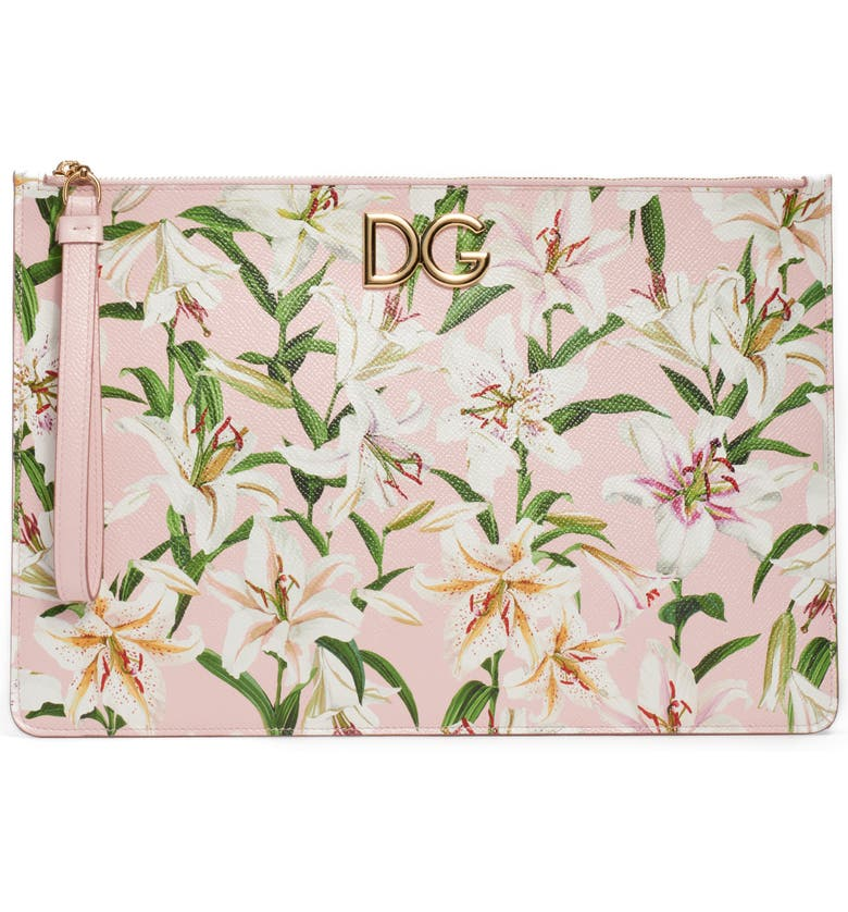 DOLCE&GABBANA Lily Print Leather Pouch, Main, color, 660