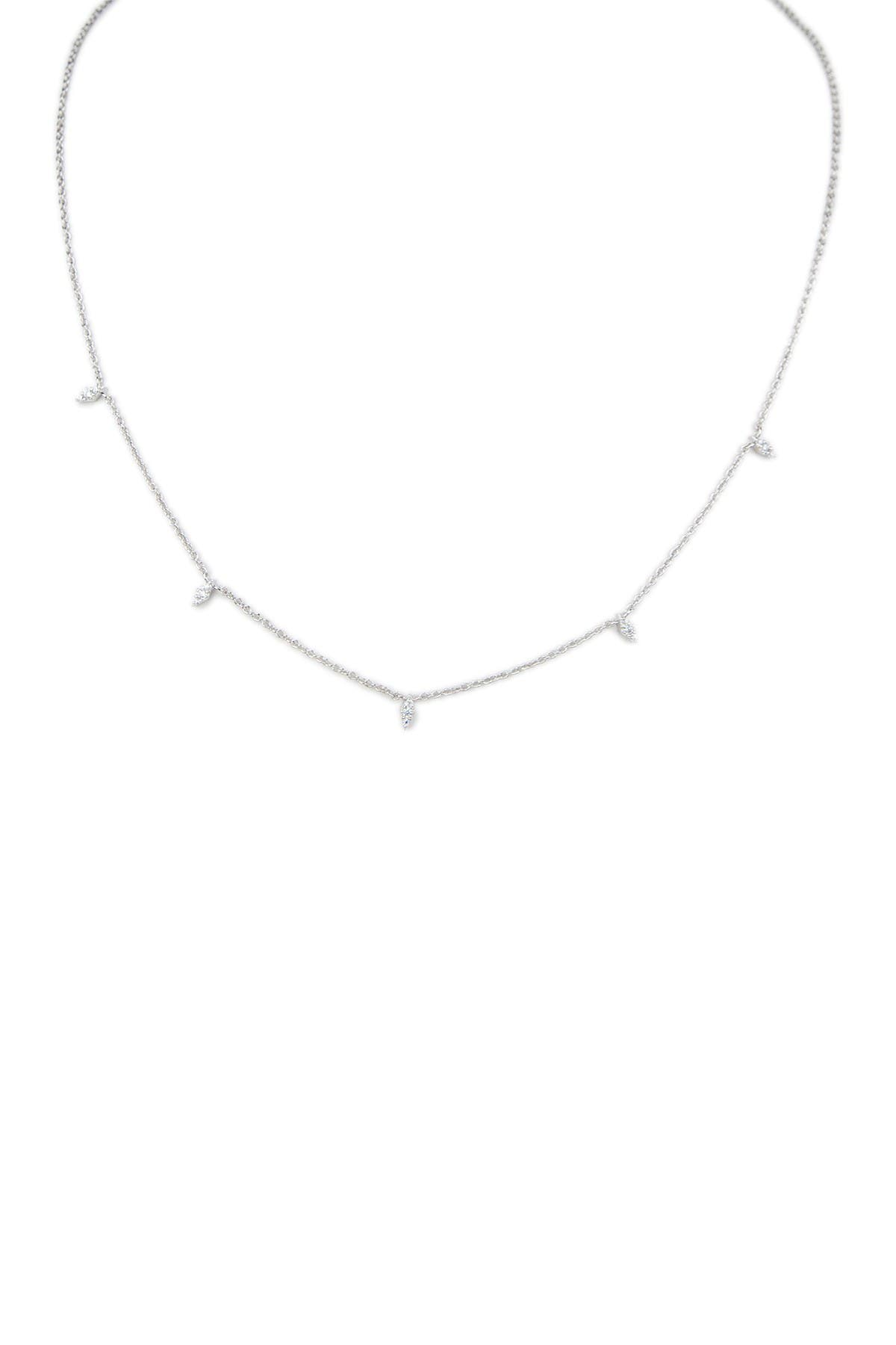 Image of CZ By Kenneth Jay Lane Dainty Spike CZ Station Necklace