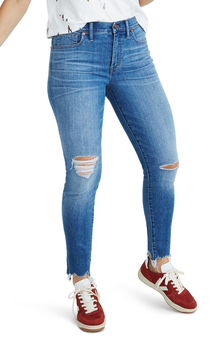 MADEWELL 9-Inch Torn Knee Skinny Jeans, Main, color, 400