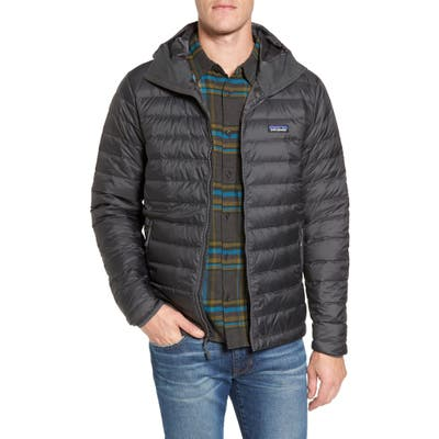 Patagonia Packable Windproof & Water Repellent Down Hooded Jacket, Grey