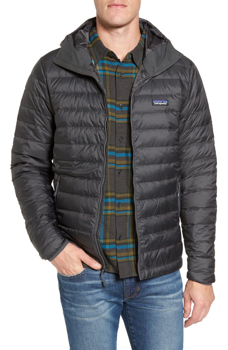 PATAGONIA Packable Windproof & Water Resistant Goose Down Sweater Hooded Jacket, Main, color, FORGE GREY