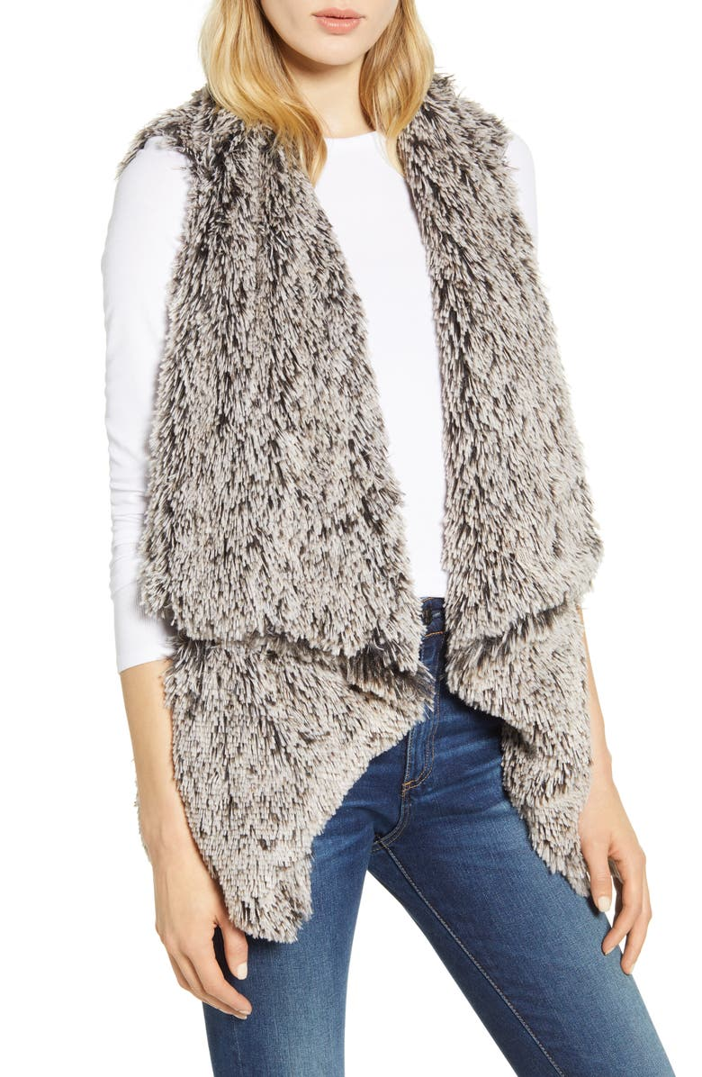 WIT & WISDOM Cascade Faux Fur Vest, Main, color, GREY