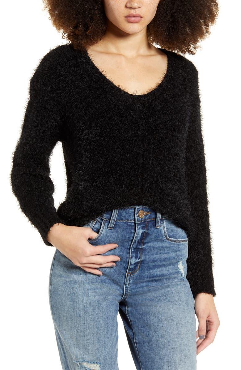 BP. V-Neck Eyelash Chenille Sweater, Main, color, BLACK