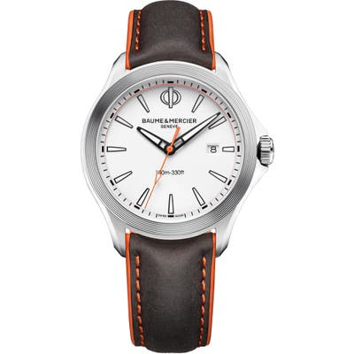 Baume & Mercier Clifton Leather Strap Watch, 42Mm
