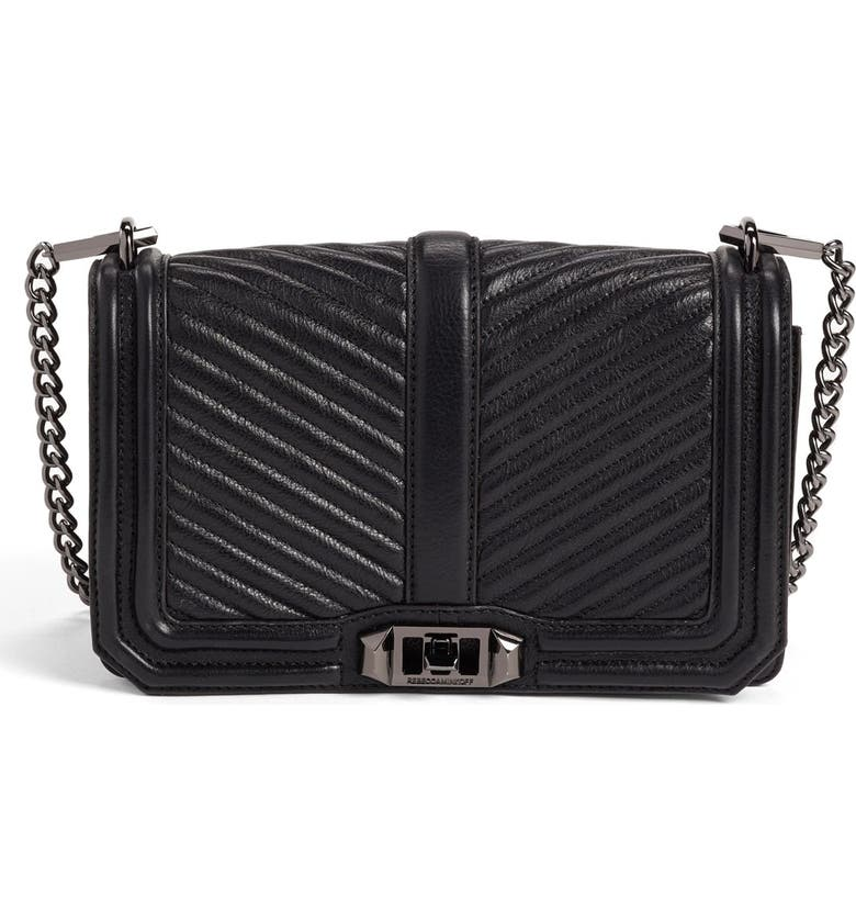 REBECCA MINKOFF 'Chevron Quilted Love' Crossbody Bag, Main, color, 001