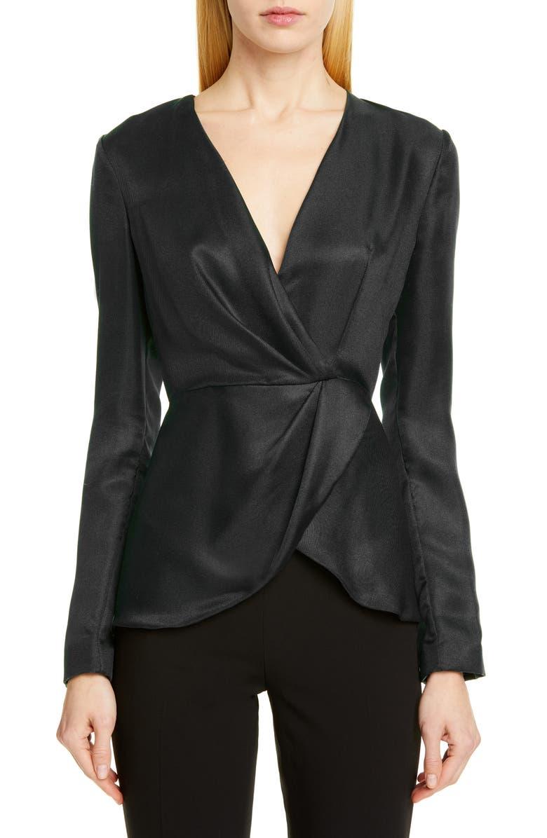 BRANDON MAXWELL Wrap Front Silk Satin Blouse, Main, color, BLACK