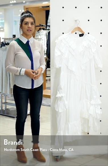 Asymmetrical Ruffle Cotton Poplin Midi Dress, sales video thumbnail