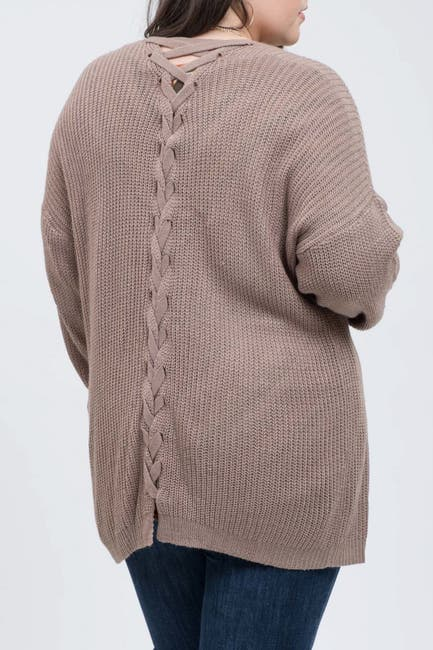 Image of Blu Pepper Braided Back Knit Cardigan