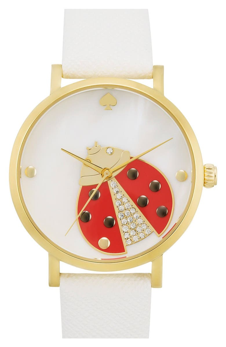 KATE SPADE NEW YORK 'metro' ladybug dial leather strap watch, 34mm, Main, color, 100