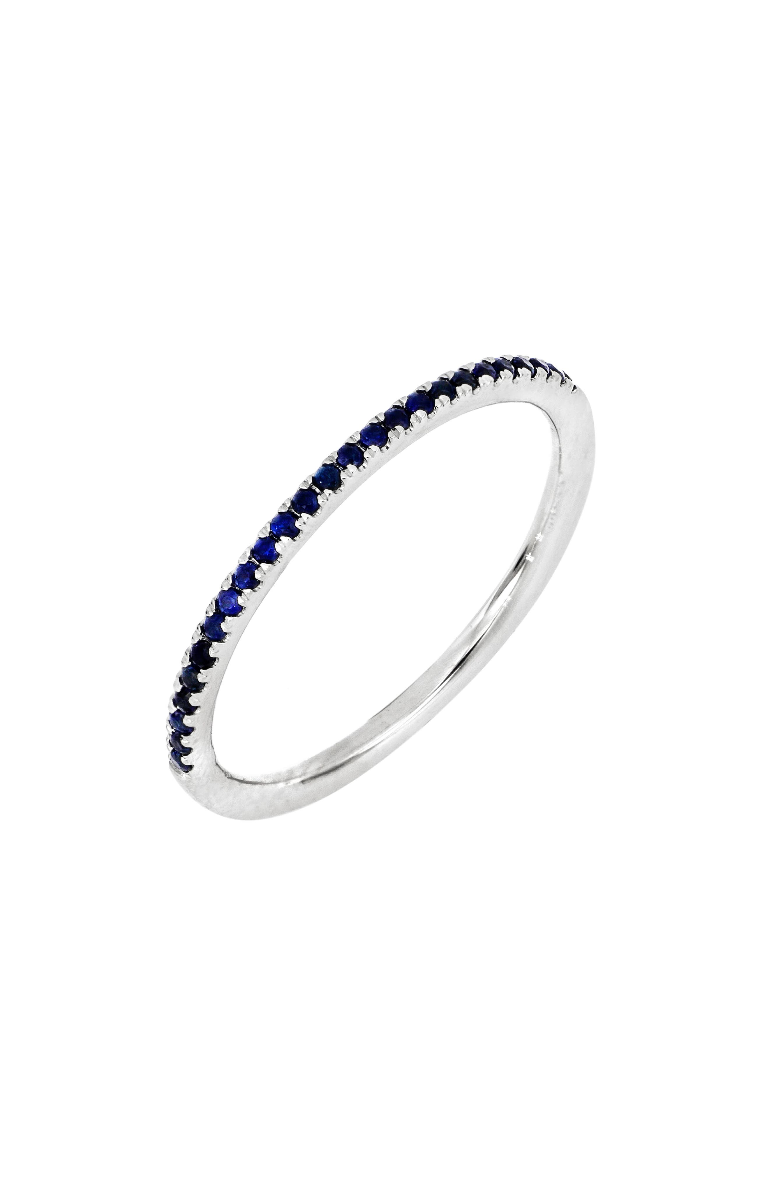 A handcrafted white-gold ring set with 25 gleaming sapphires is stunning whether stacked or worn as a standalone piece. Style Name: Bony Levy Stackable Sapphire Ring (Nordstrom Exclusive). Style Number: 6057178. Available in stores.