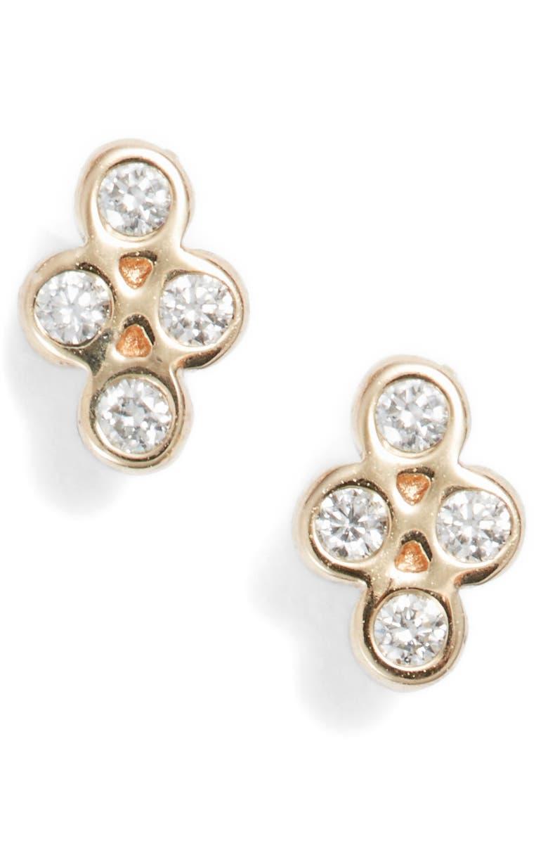 ZOË CHICCO Tiny Quad Diamond Stud Earrings, Main, color, GOLD/ DIAMOND