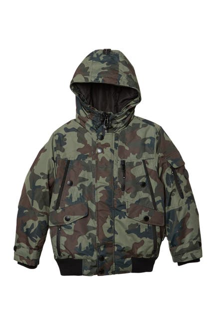 Image of NOIZE Max Faux Fur Trimmed Hood Bomber Jacket