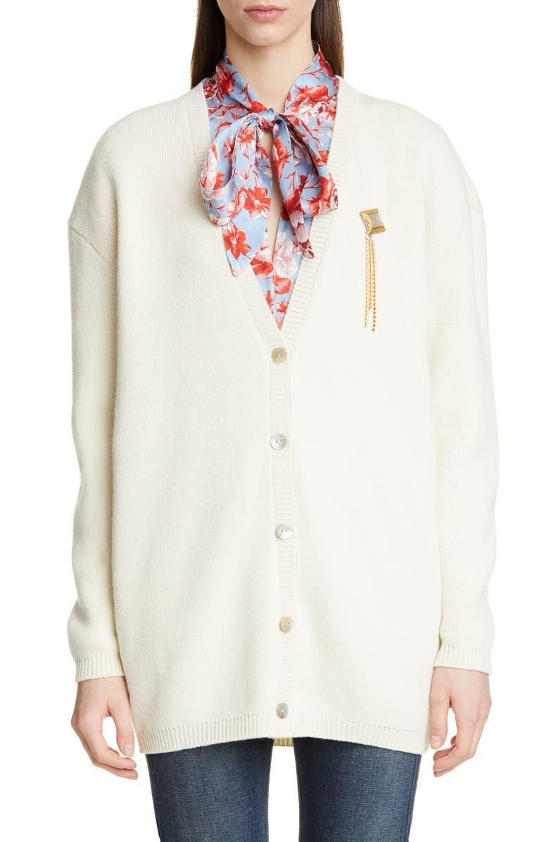 MAGDA BUTRYM Rochester Brooch Merino Wool & Cashmere Cardigan, Main, color, 900