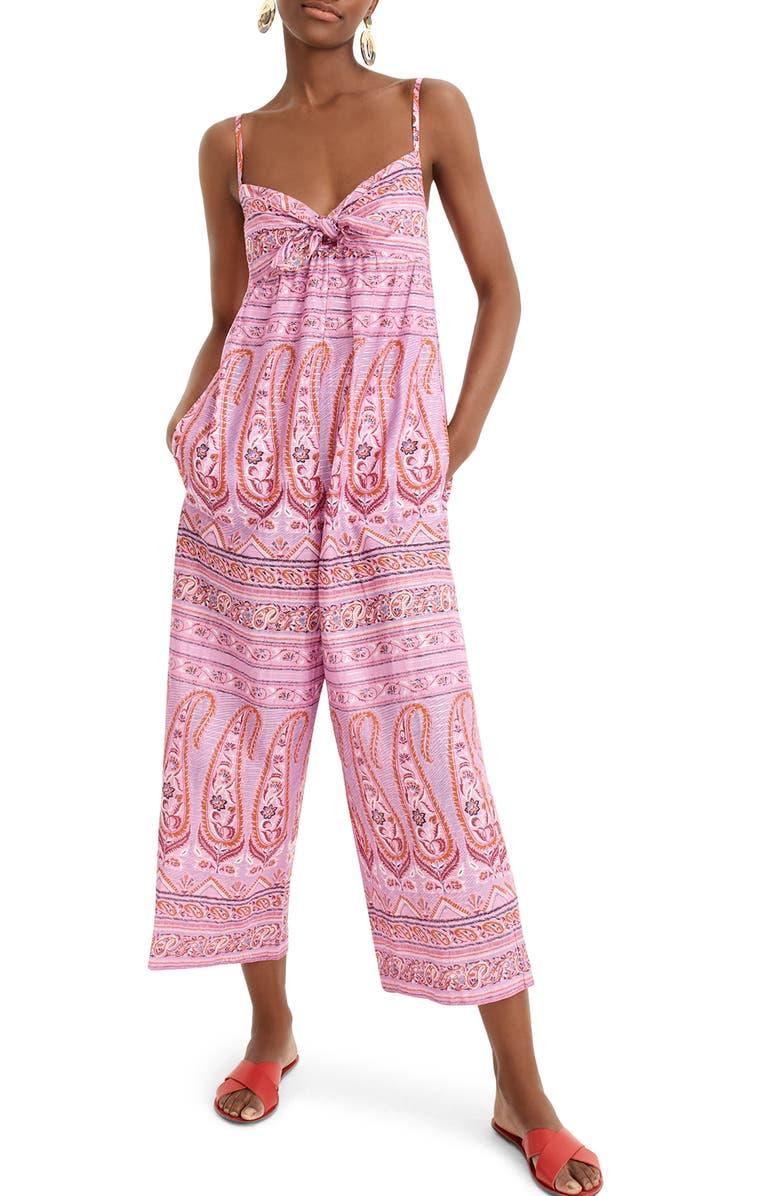 J.CREW Tie Front Paisley Metallic Cotton Voile Jumpsuit, Main, color, SATTRIYA PAISLEY PLUM COPPER