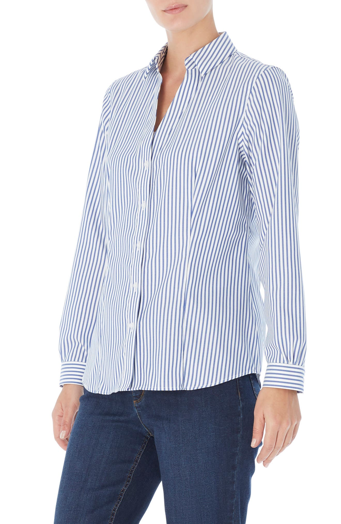 Stripe Easy Care Button-Up Shirt