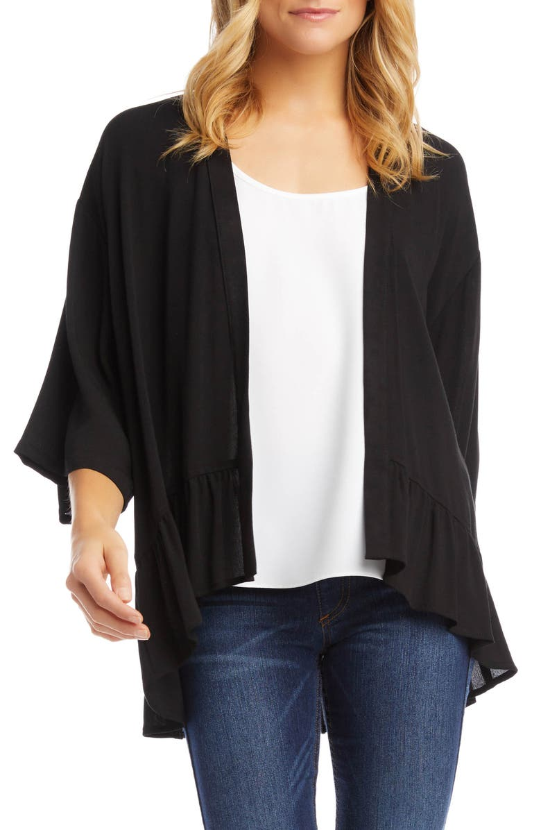 KAREN KANE Open Front Ruffle Cardigan, Main, color, BLACK
