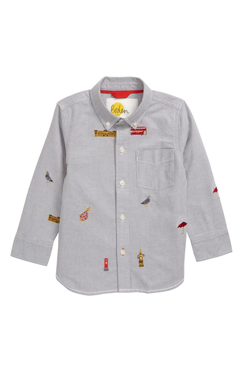 MINI BODEN London Embroidered Oxford Shirt, Main, color, GREY MARL