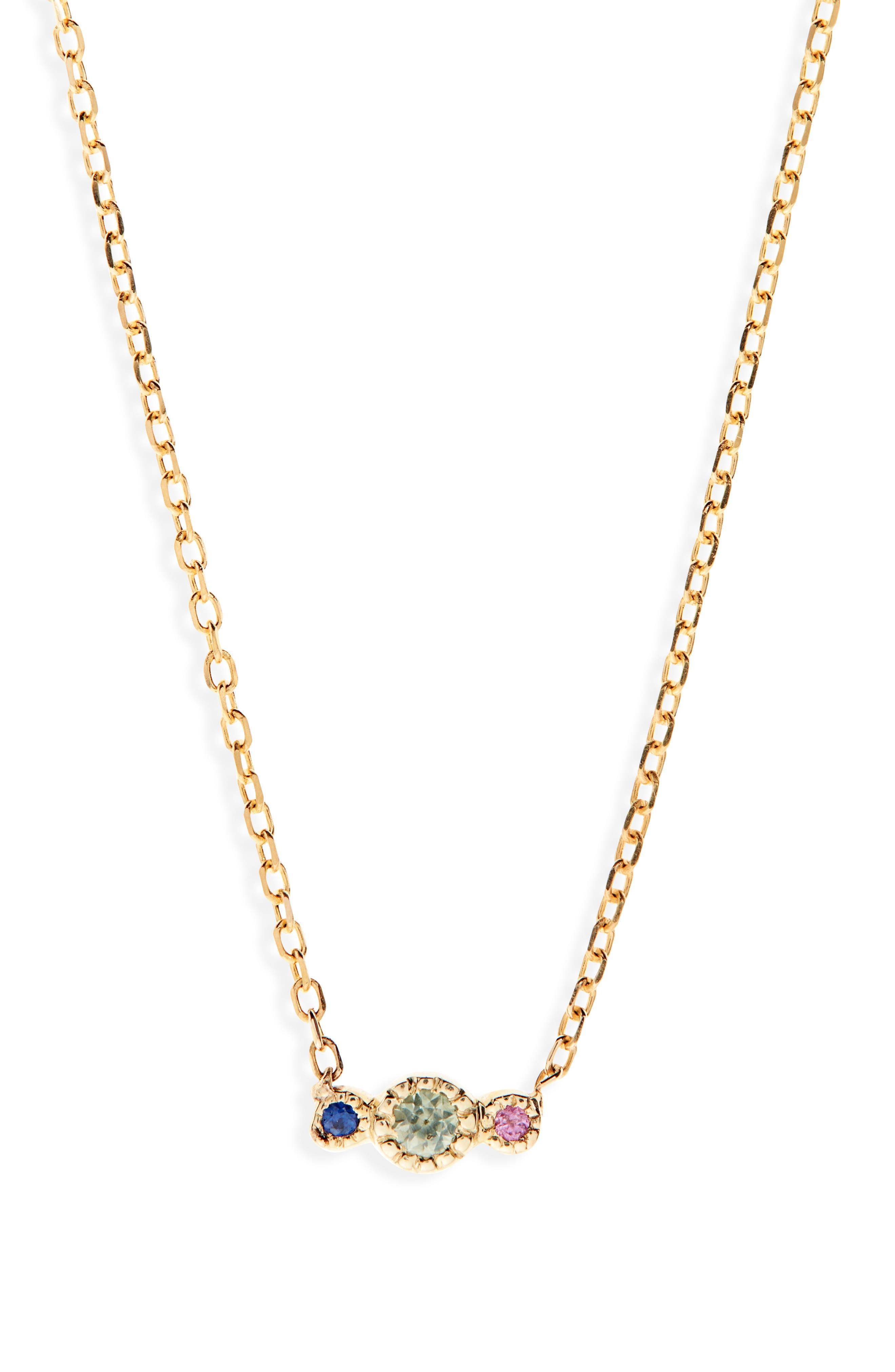 Green Sapphire Journey Pendant Necklace