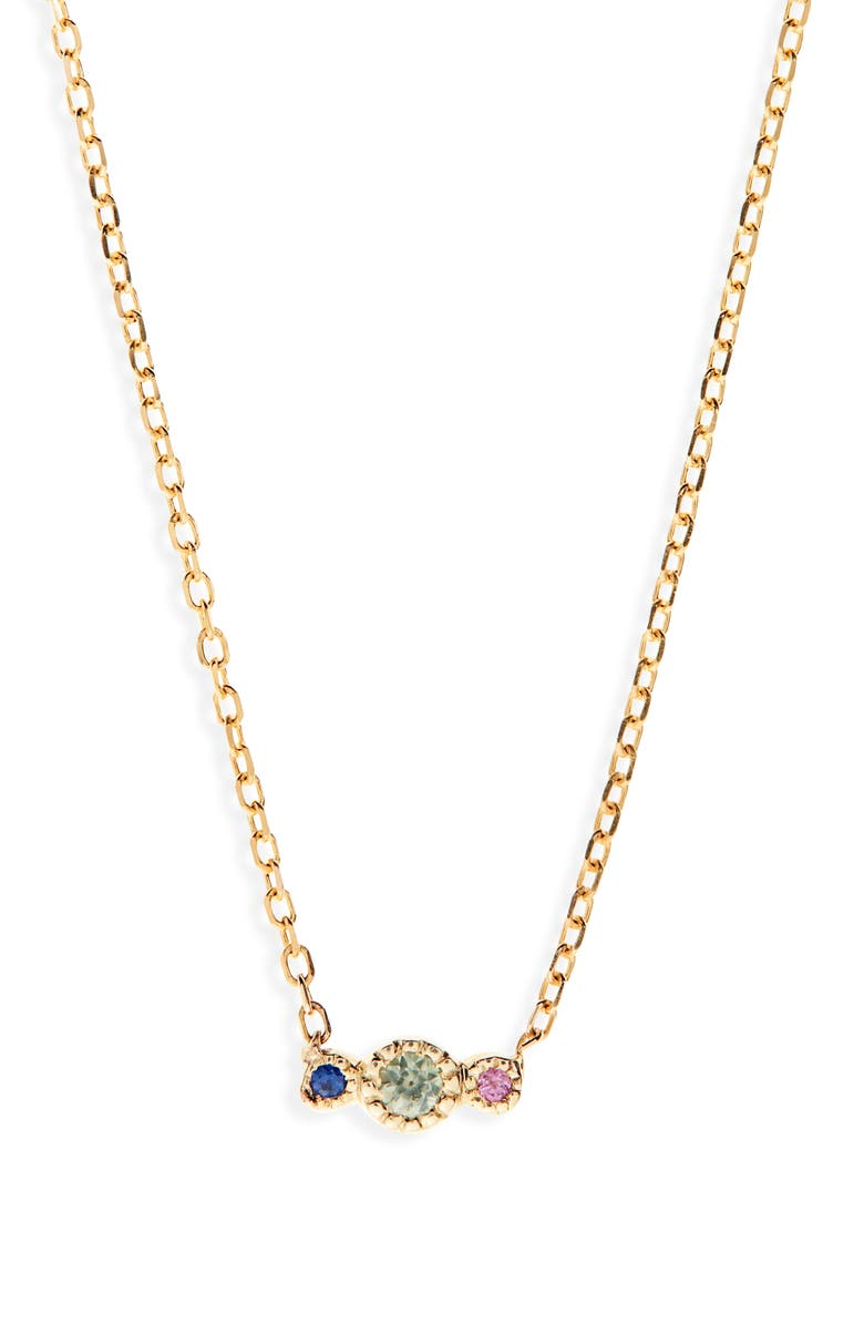 JENNIE KWON DESIGNS Green Sapphire Journey Pendant Necklace, Main, color, YELLOW GOLD/ GREEN SAPPHIRE