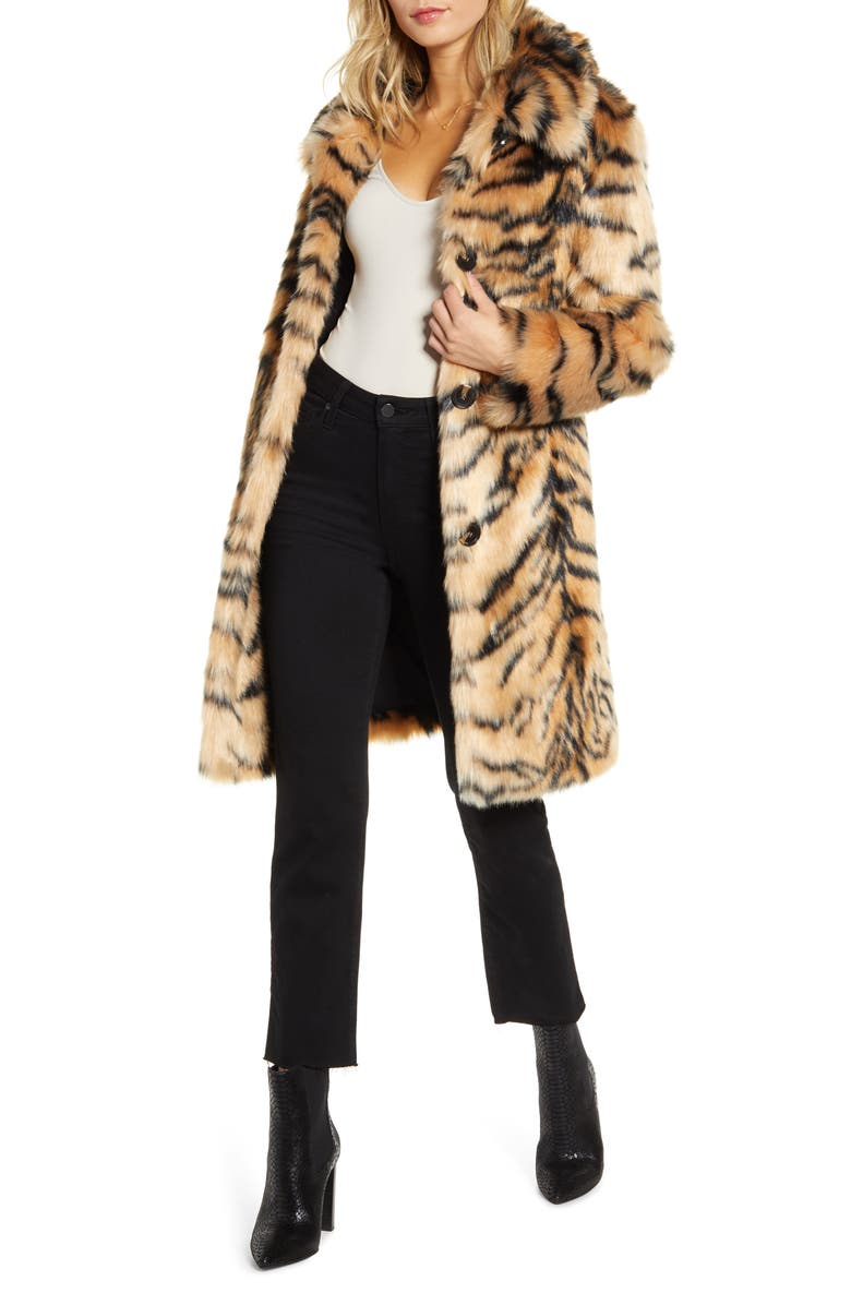 KENDALL + KYLIE Faux Fur Coat, Main, color, TIGER