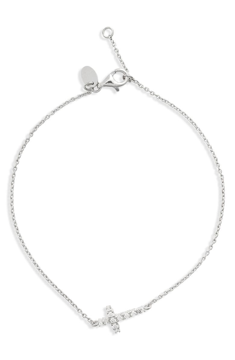 ARGENTO VIVO Pavé Cross Charm Bracelet, Main, color, 040