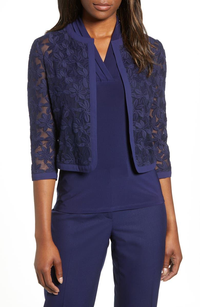 ANNE KLEIN Floral Lace Crop Cardigan, Main, color, ECLIPSE