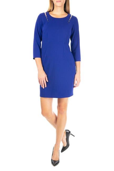 Image of Nina Leonard Faux Pearl Embellished Sheath Dress