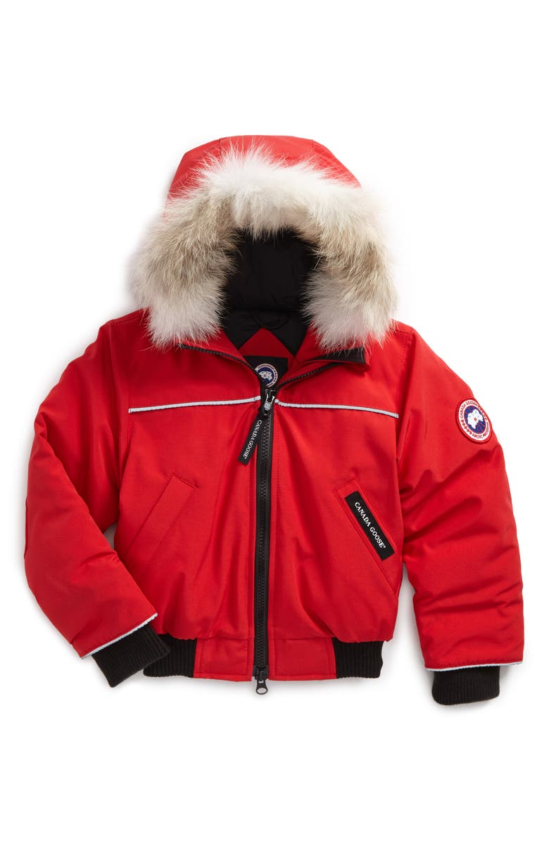 CANADA GOOSE 'Grizzly' Down Hooded Bomber Jacket with Genuine Coyote Fur Trim, Main, color, RED