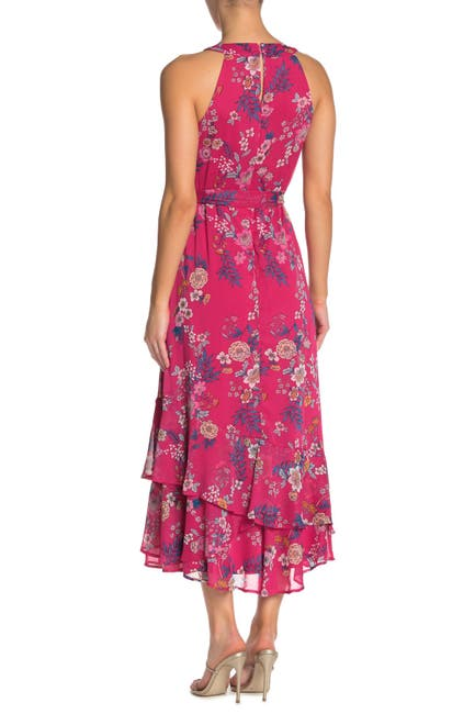 Image of Calvin Klein Floral Waist Tie Maxi Dress