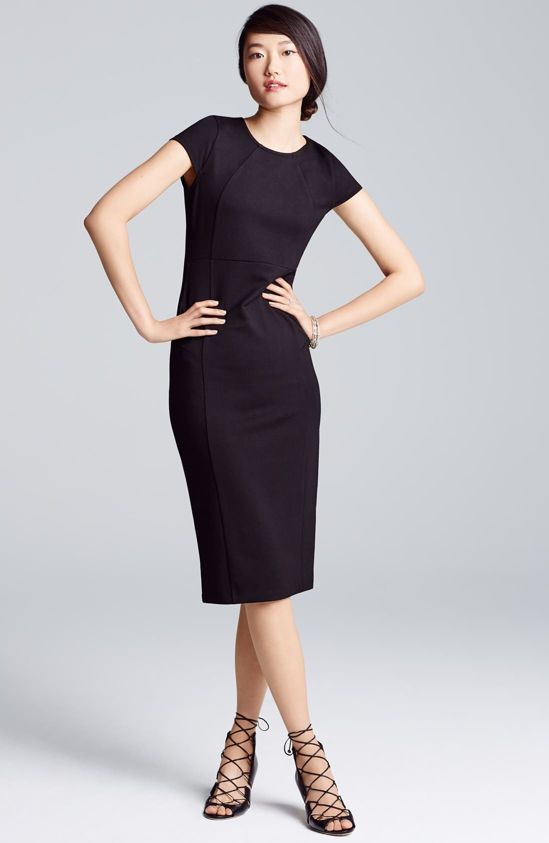 ,                             Ward Seamed Pencil Dress,                             Alternate thumbnail 9, color,                             001
