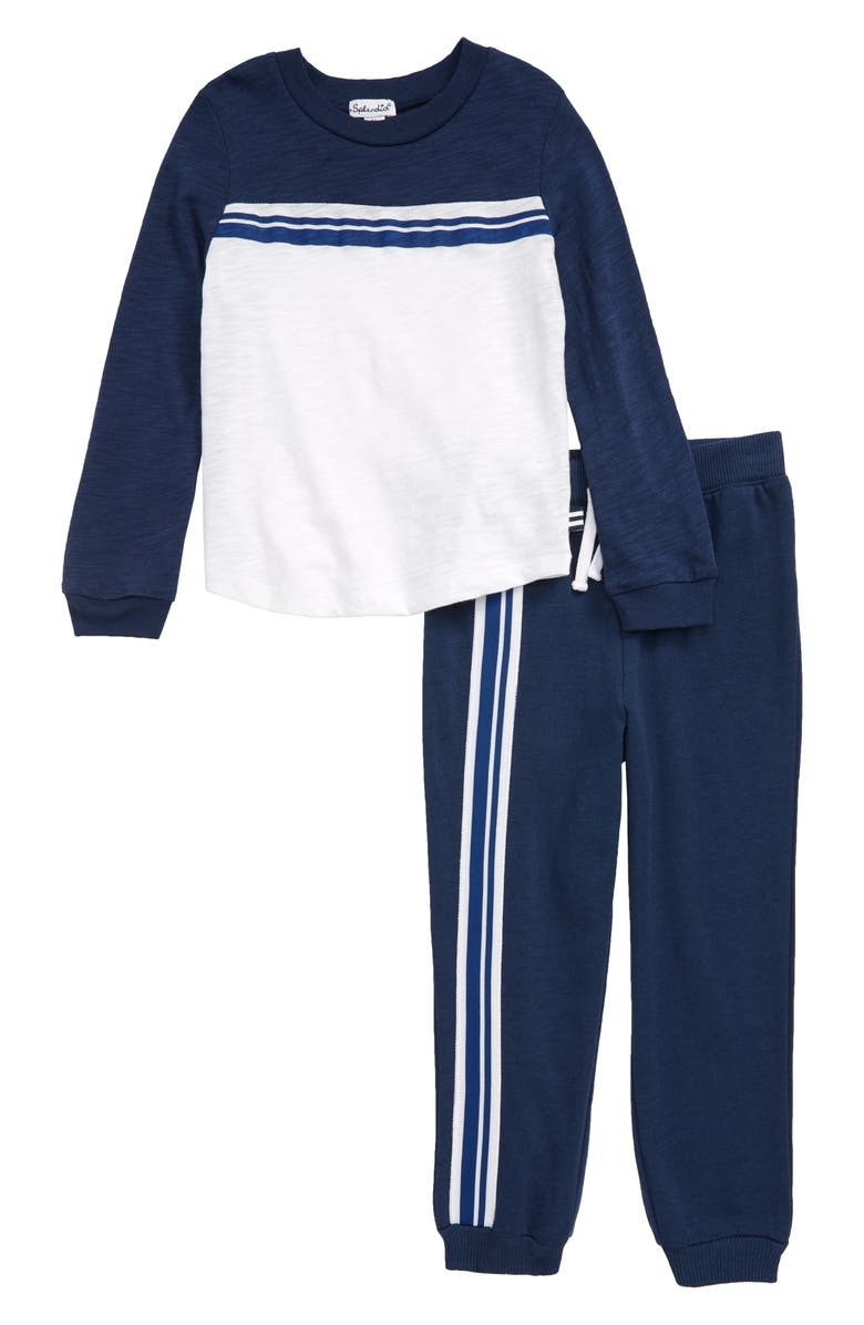 SPLENDID Long Sleeve Shirt & Sweatpants Set, Main, color, PHANTOM INK