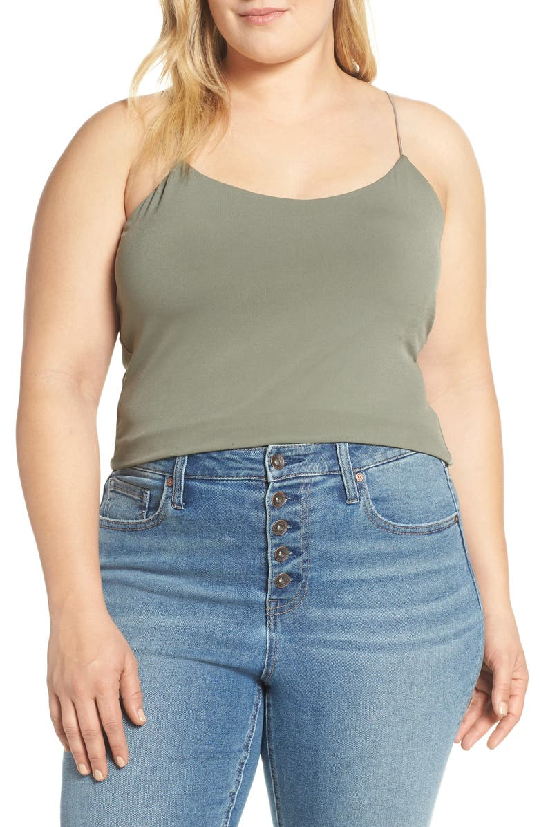 LEITH Sexy Camisole, Main, color, GREEN VETIVER